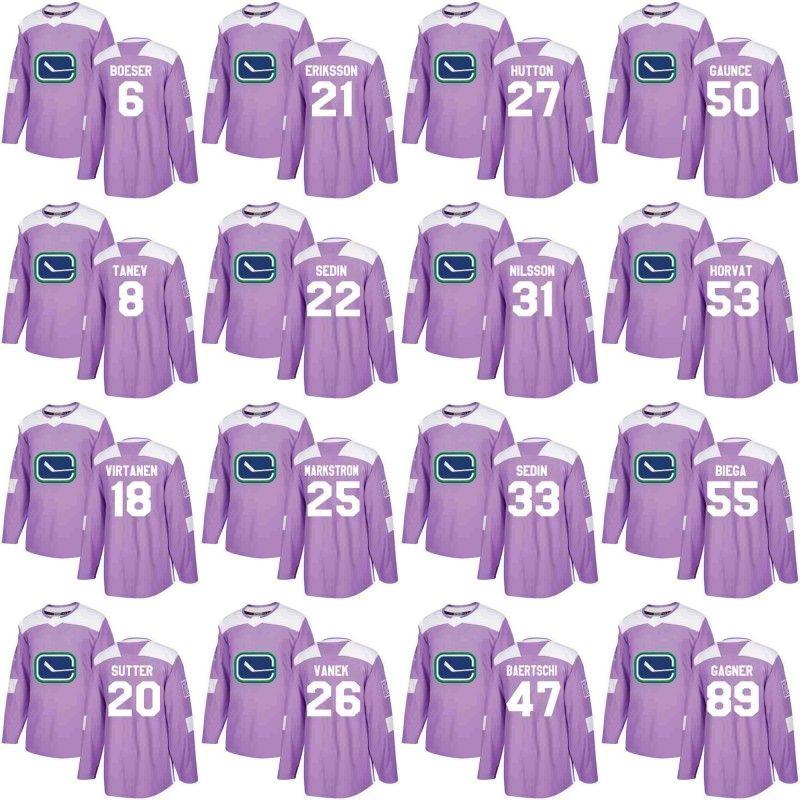 ... vancouver canucks jersey purple fights cancer practice 6 brock boeser  22 daniel sedin 33 henrik sedi a121a34ae