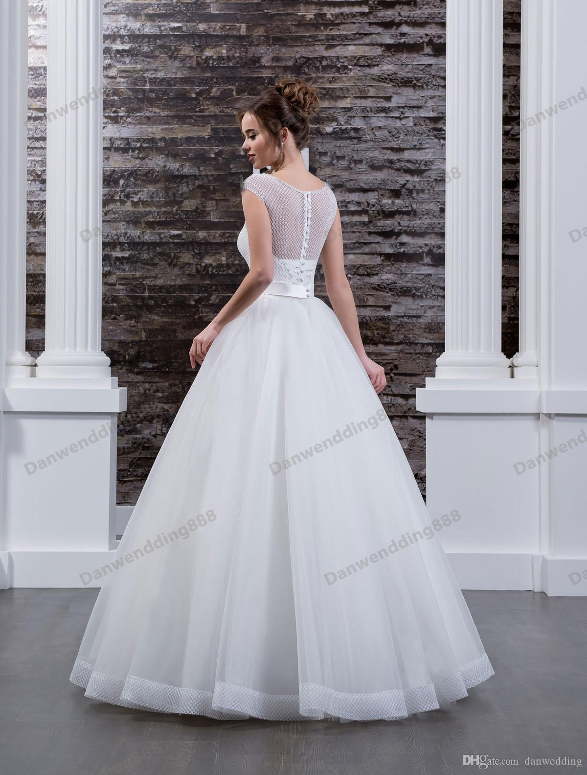 Beauty White Tulle/Lace Scoop Applique Beads A-Line Wedding Dresses Bridal Pageant Dresses Wedding Attire Dresses Custom Size 2-16 ZW608088