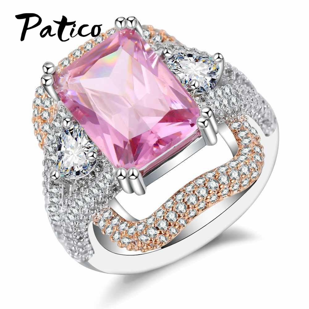 2018 Patico Promise Square 925 Sterling Silver Finger Rings For ...