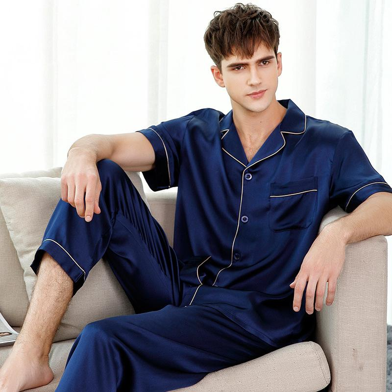 7700afde45 Genuine Silk Pajamas Solid Color Man's Short-Sleeve Two-Piece 100% Silkworm Silk  Sleepwear Male Pyjama Sets T9001