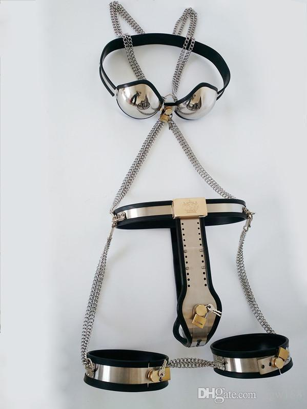 New stainless steel Female Chastity Devices Set Chastity Belt+Chastity Bra+Thigh Cuffs Anal Vagina Plug bdsm Bondage Sex Games for Couples