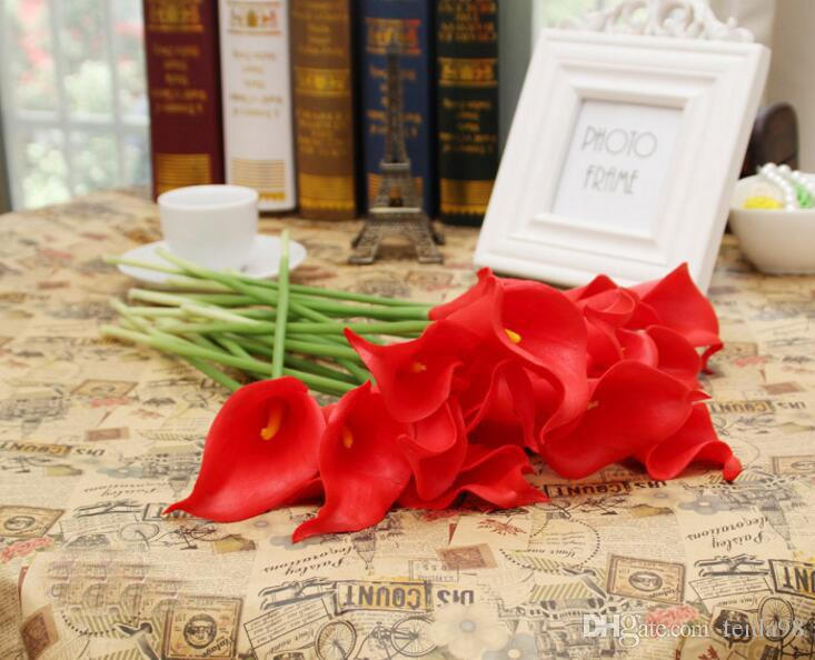 Simulazione Calla Lily Fiore artificiale PU Real Home Decoration Fiori Festa di nozze San Valentino Bouquet Fiori GA80