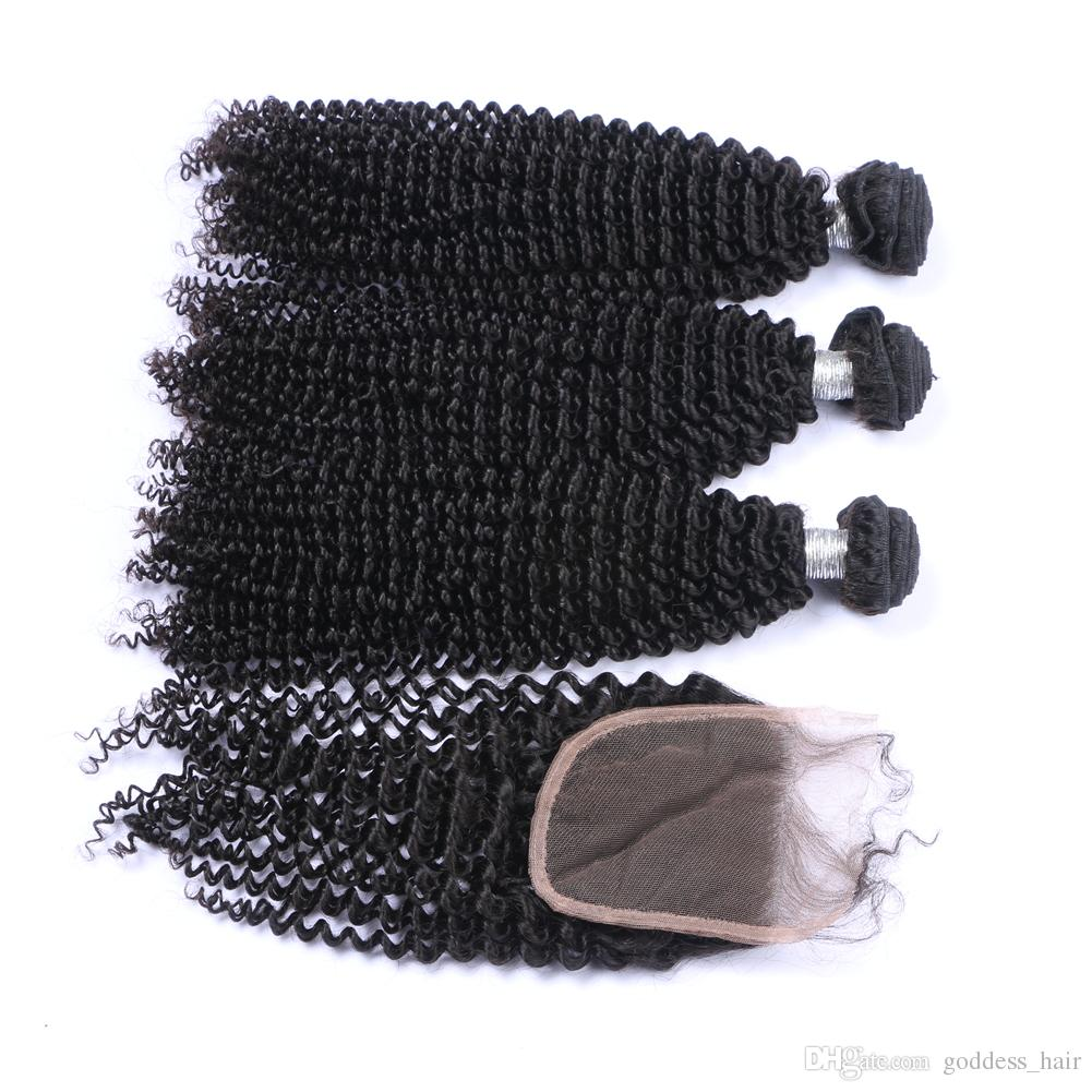 Mongolian Kinky Curly 9A Human Hair 3bundles With Closure 4Pcs Unprocessed Afro curly Hair Weaves Extensions With Closure 4x4