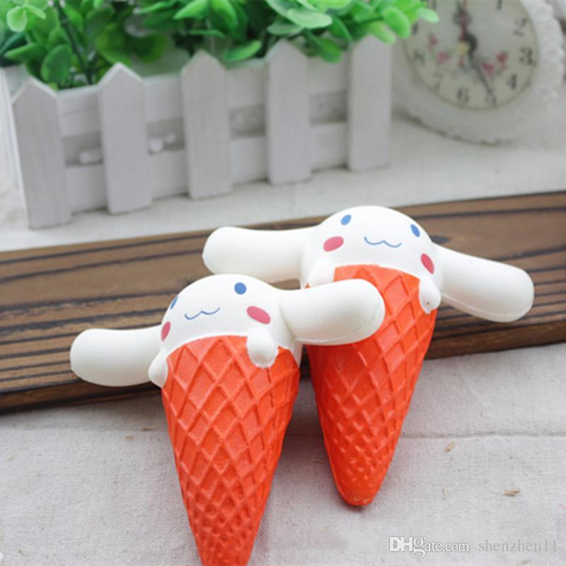 2017 Kawaii Squishy Jumbo 11CM Big Ear Doll Cartoon Ice cream Squeeze Slow Rising Animal Scented Bread Cake Kid Toy Wholesales STY037