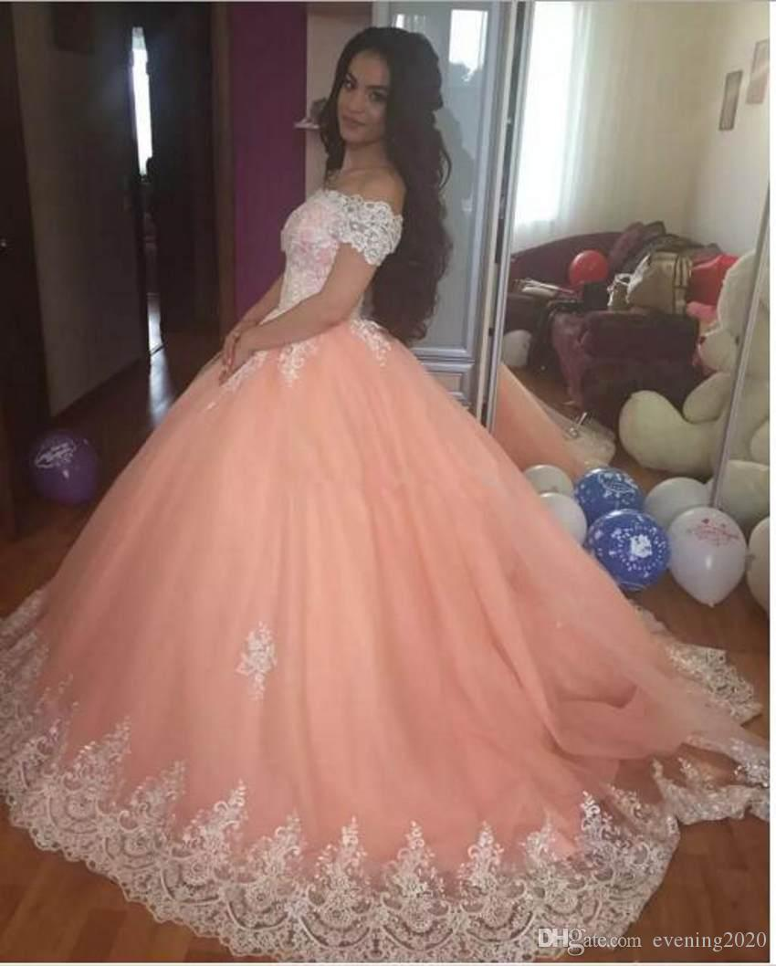 2018 Latest Cap Sleeve Quinceanera Dresses Satin Appliques Lace Up Back Ball Gown Prom Dresses Sweet 16 Quinceanera Gowns