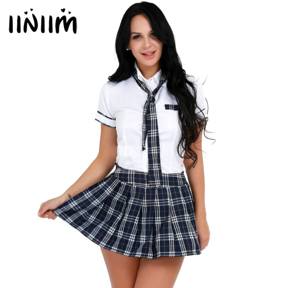 0071b5c21db077 3pcs femmes costumes scolaires filles costumes doux filles chemise à  manches courtes avec jupe à carreaux et cravate vêtements mis pour les  femmes ...