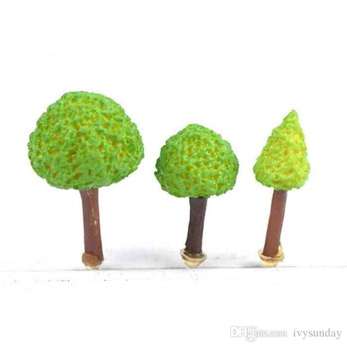 Minyatür Karikatür Green Tree Mikro Peyzaj Süs Moss Teraryumlar Ekolojik Şişe Bonsai Aksesuarları Peri Bahçe DIY Malzeme I. ZAKKA