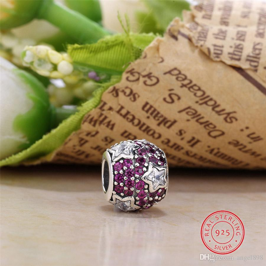 Authentic 925 Sterling Silver Bead Charm Hollow Glaze Stars With Crystal Beads Fit Pandora Bracelet & Bangle DIY Jewelry Making