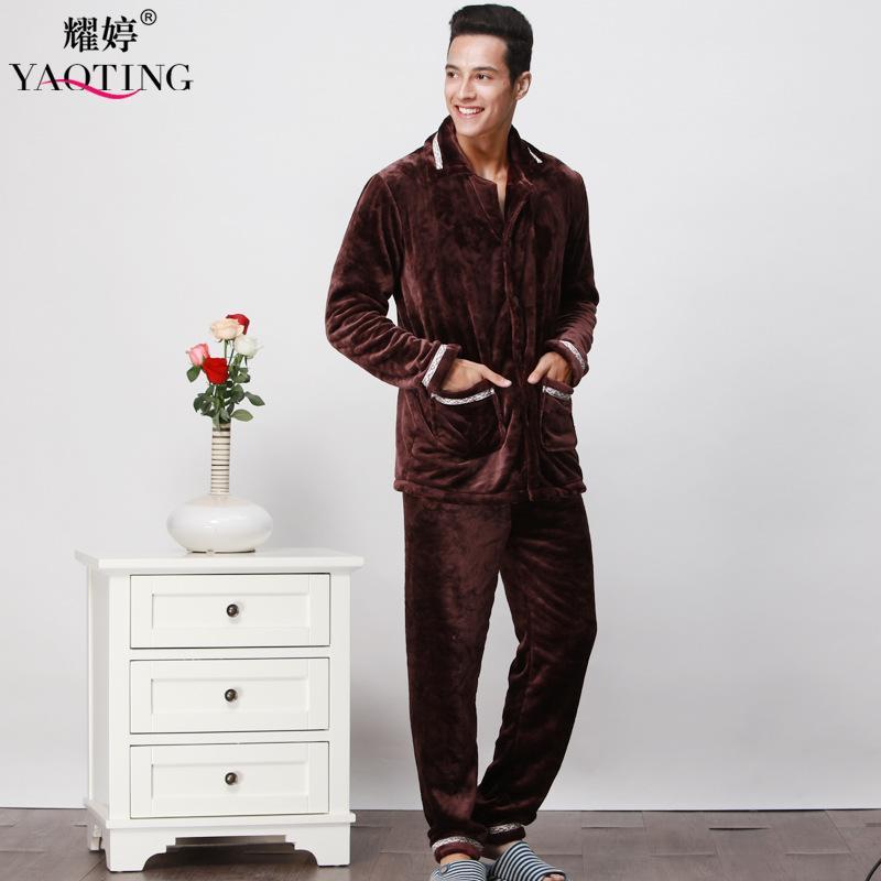 Flannel Autum And Winter Men Thicken Pajama Set Solid Turn Down ... e9e101efd