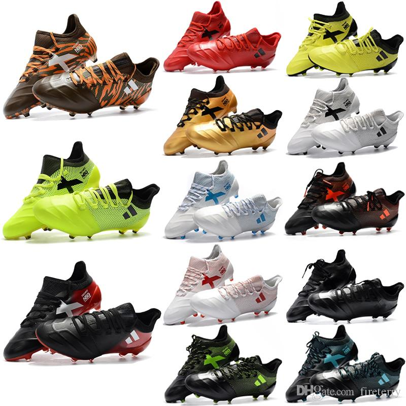 2018 Mens ACE X TPU 17.1 FG Soccer Shoes Lace-up Thunderstorms series Men Soccer Cleats Outdoor Football Shoes Boots size 6.5-12 clearance sale TfObT9