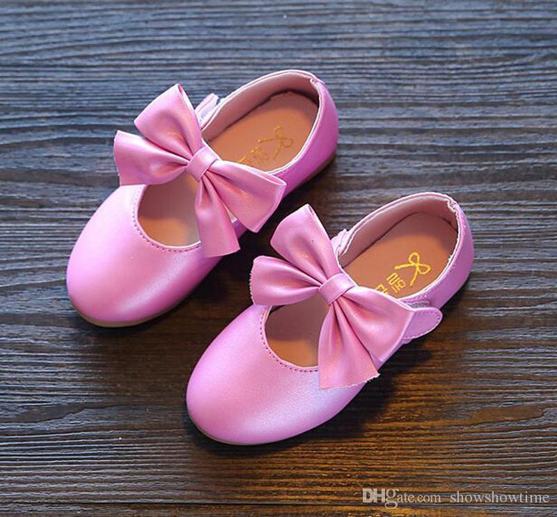 chaîne stéréo enfants boucles rose Fushica filles bout rond Chaussures de princesse mignons enfants fond souple Chaussures en cuir