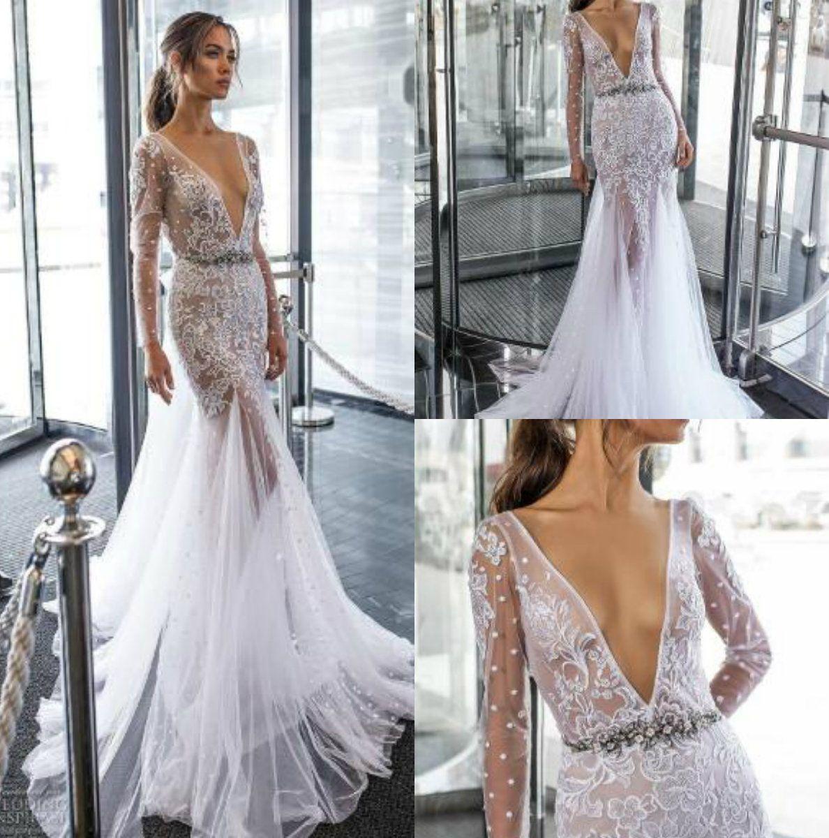9f5ae1331d8 2018 Dimitrius Dalia Mermaid Wedding Dresses Bridal Gowns Robe De Mariée  Long Sleeve V Neck Lace Vestito Da Sposa Beach Boho Wedding Dress Wedding  Dress Tea ...