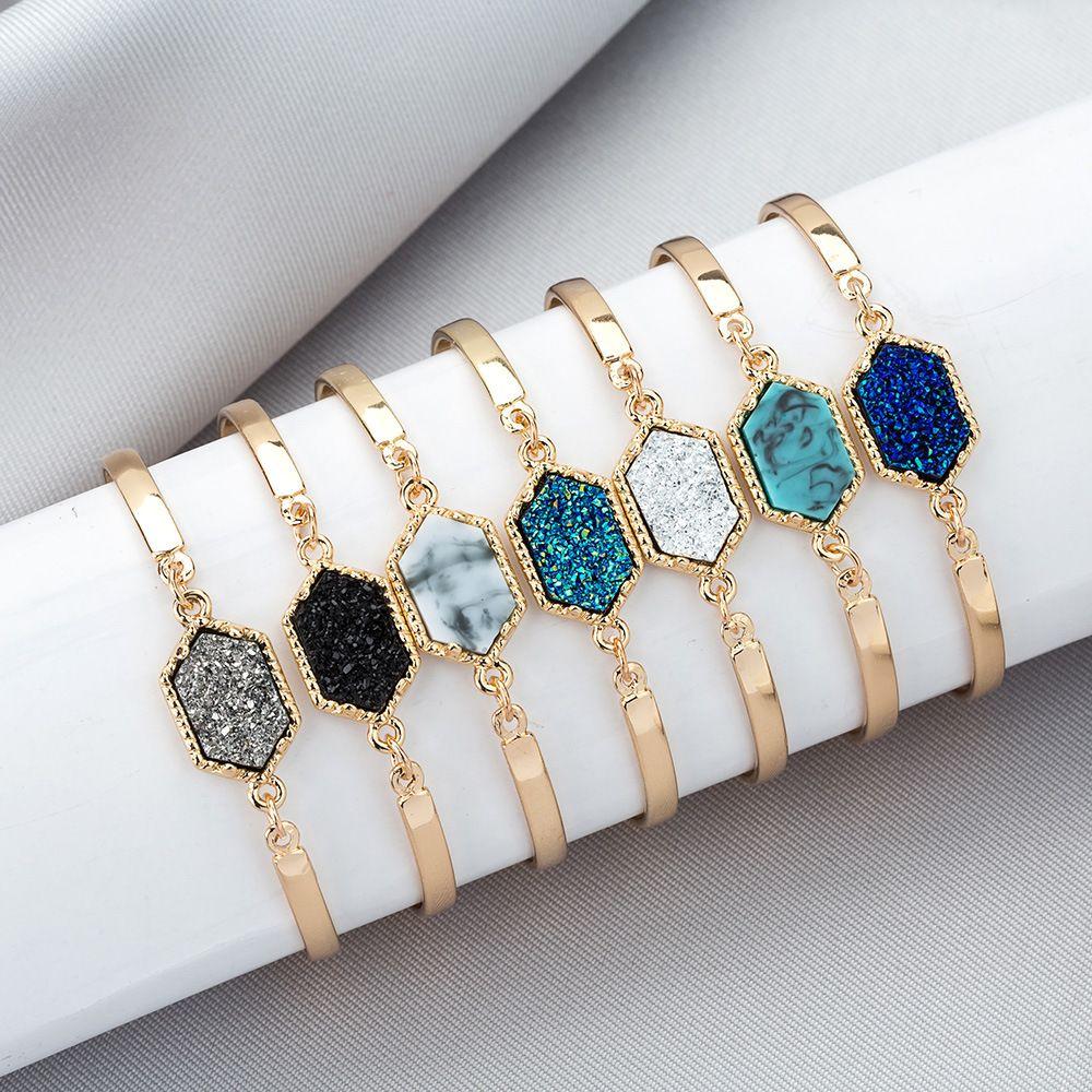 مصمم فاخر Druzy سلك الإسورة فو هندسية حجر طبيعي سحر أساور للنساء s الأزياء والمجوهرات هدية