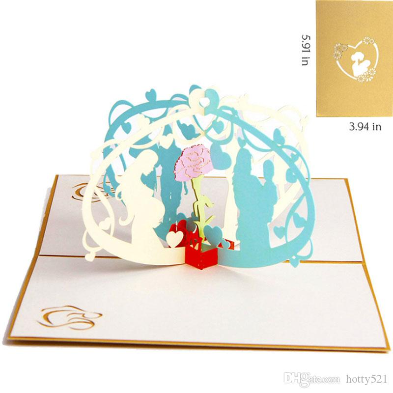 Thanksgiving Mothers Day Handmade Papercraft Pop Up 3D Greeting Cards For Teacher Mother Birthday Christmas Anniversary Art From