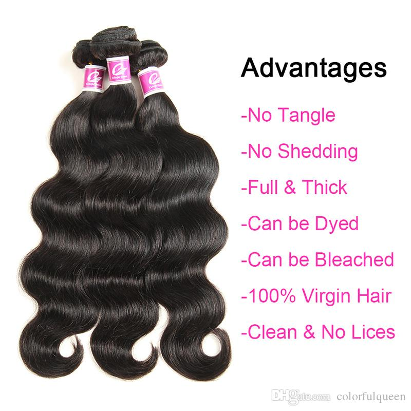 Brazilian Virgin Hair 3 Bundles Body Wave with Closure Wet and Wavy Human Hair Weaves with 4x4 Lace Closure Natural Black