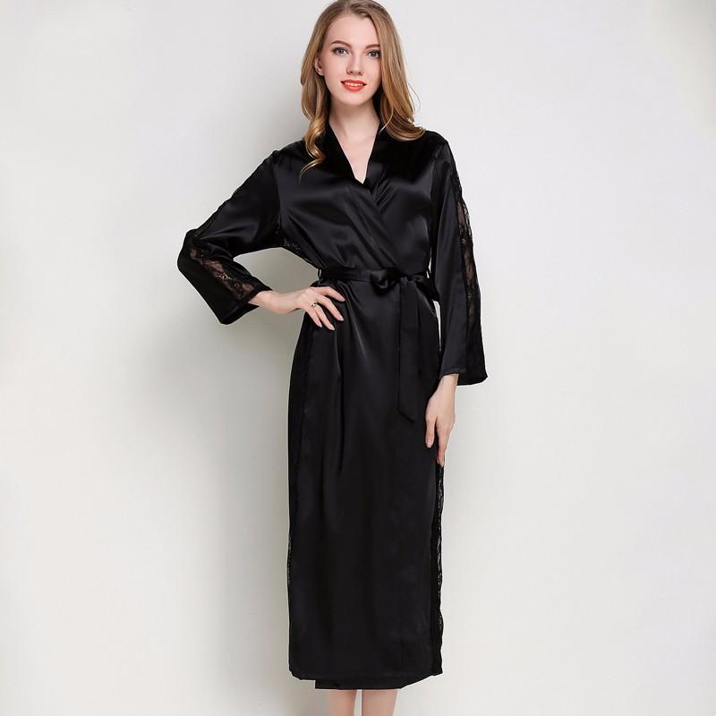 4428aea5f 2019 Silk Satin Sleepwear Robes Womens Long Sleeve Pajamas Nightwear Femme  Lounge Pyjama Black Champagne Pink Robe From Jellwaygood, $174.9 |  DHgate.Com