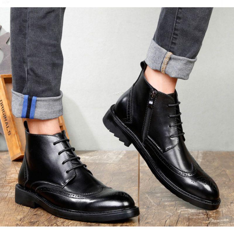 6120d9929737e 2018 Autumn NEW Men Boots Vintage Brogue College Style Men Dress Shoes  Formal Footwear Fashion Lace-up Warm Boots For Man