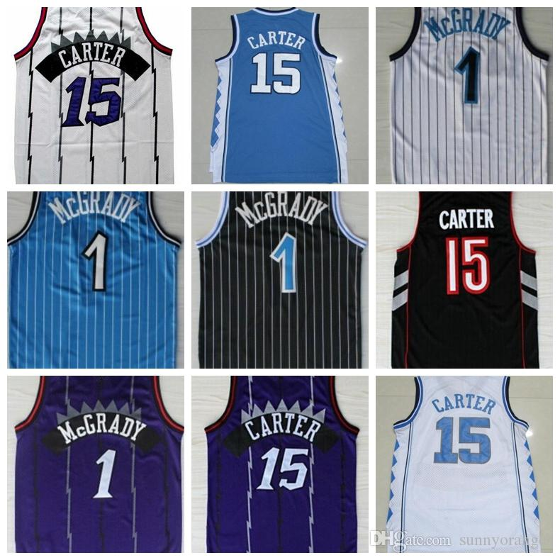 hot sales 9ca29 ba533 15 Vince Carter Jersey 1 Tracy McGrady North Carolina ncaa College  Basketball Stitched Purple White Jerseys Wholesale Best Quality Drop Ship