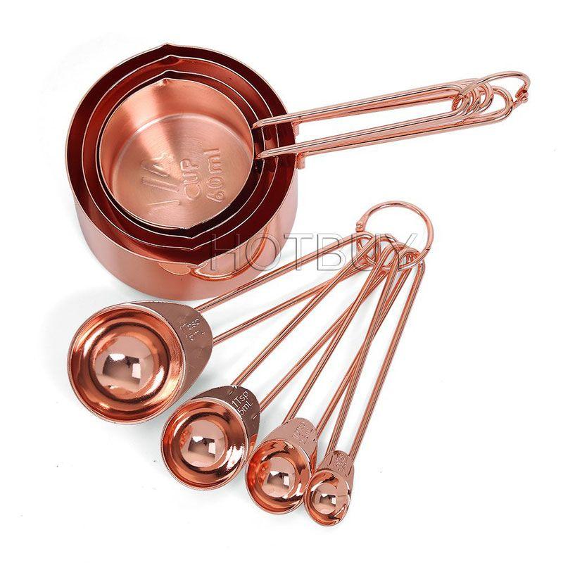 Kupfer Edelstahl Messbecher Löffel Set von 8 Gravur Messungen Kochgeschirr Werkzeuge Ausgießer zum Backen # 4562