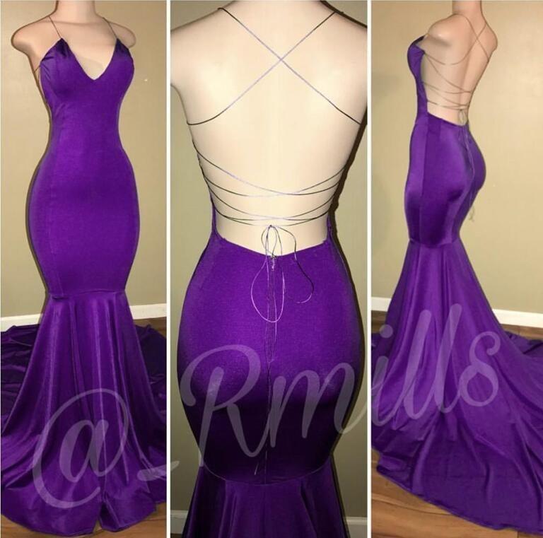 Compre Sexy Purple 2018 Nueva Moda Sirena Vestidos De Baile Halter ...