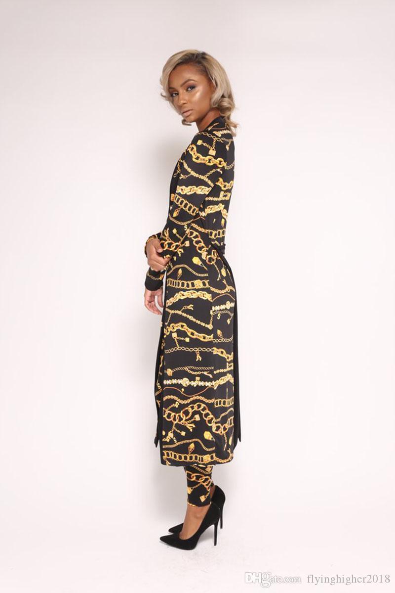 2018 Verão 2 Peça Set Mulheres Dashiki Dress sets Moda sexy corrente de ouro impressão Tradicional Africano Roupas Roupas Africanas
