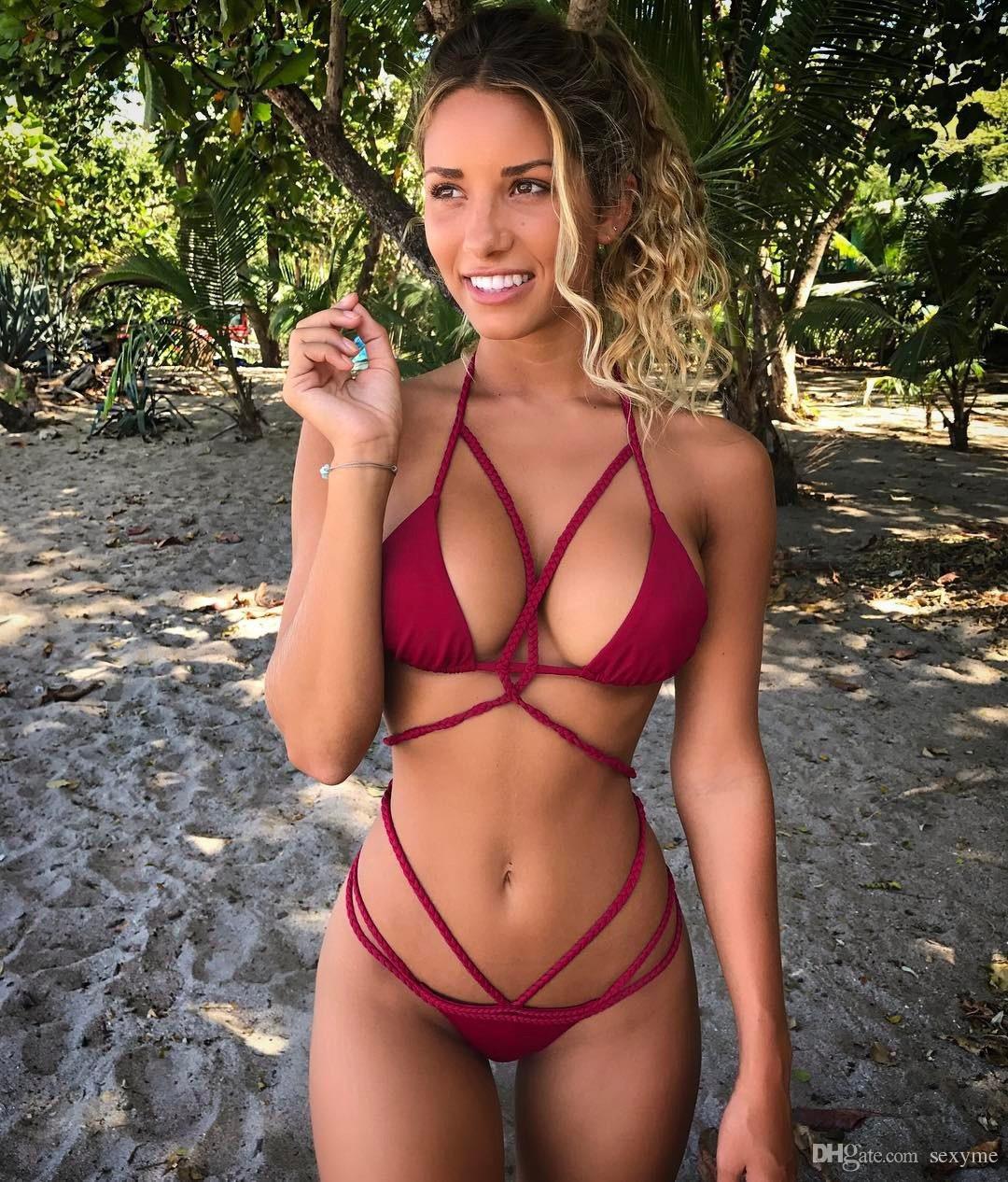 57bdb80137 2019 Women Brazilian Thong Bikini Sets Criss Cross Tied Knot Swimsuits Pad  Bandage Beach Wear Swimwear Female Bathing Suit From Sexyme