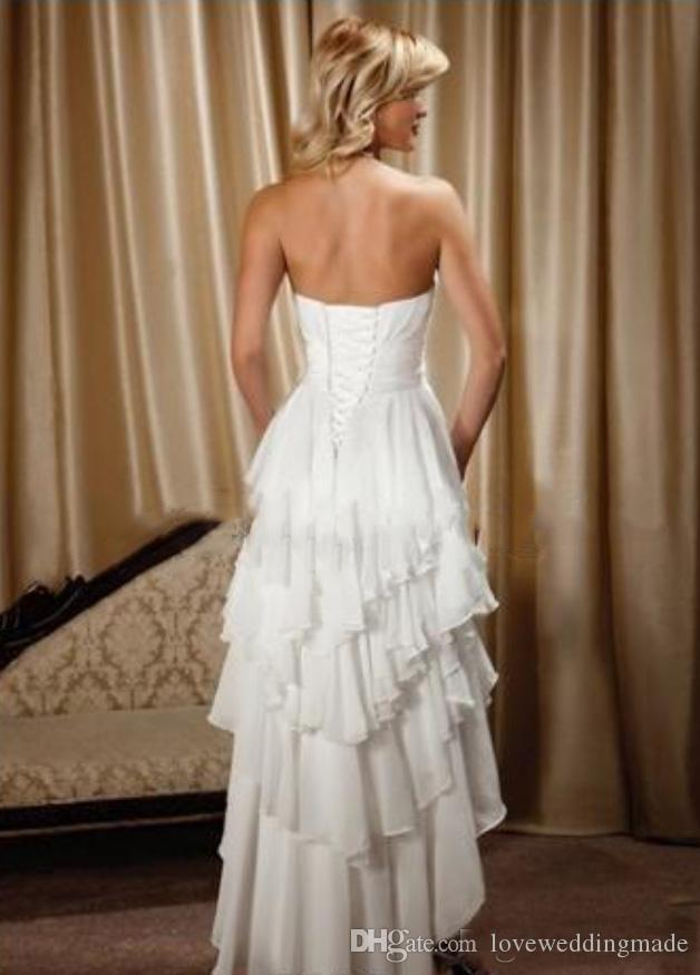 Cheap Ivory Chiffon Short Front Long Back Sweetheart Tiered Skirt High Low Wedding Dresses Beach/Country 2018