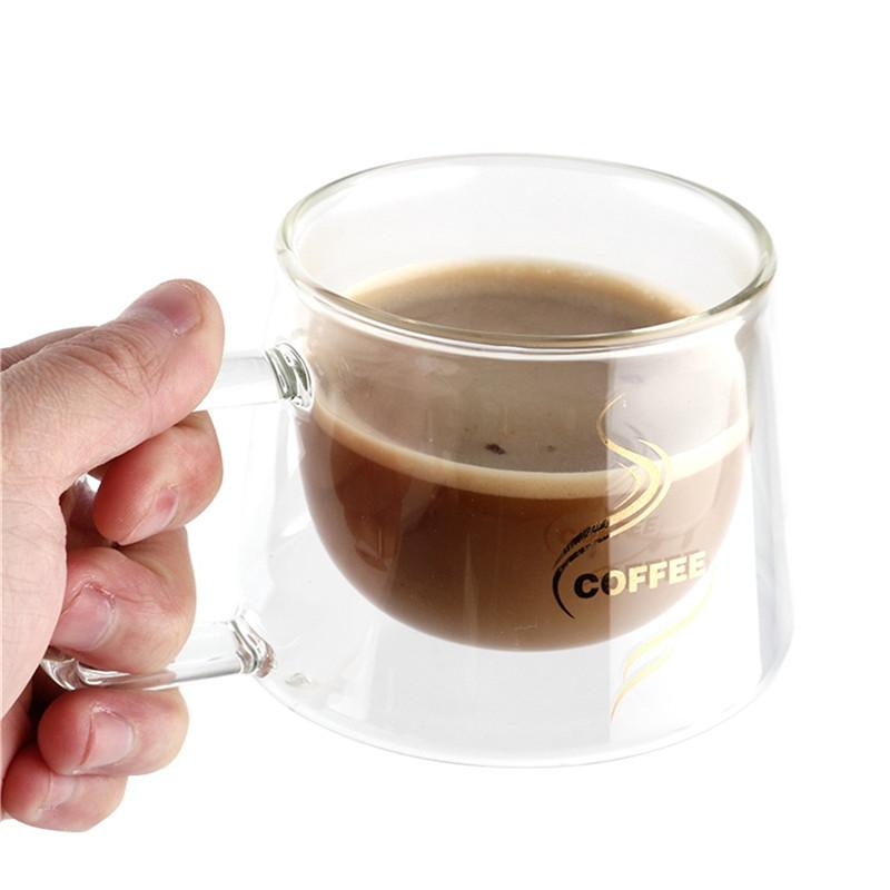 Transparent Double Layers Glass Coffee Mug Portable