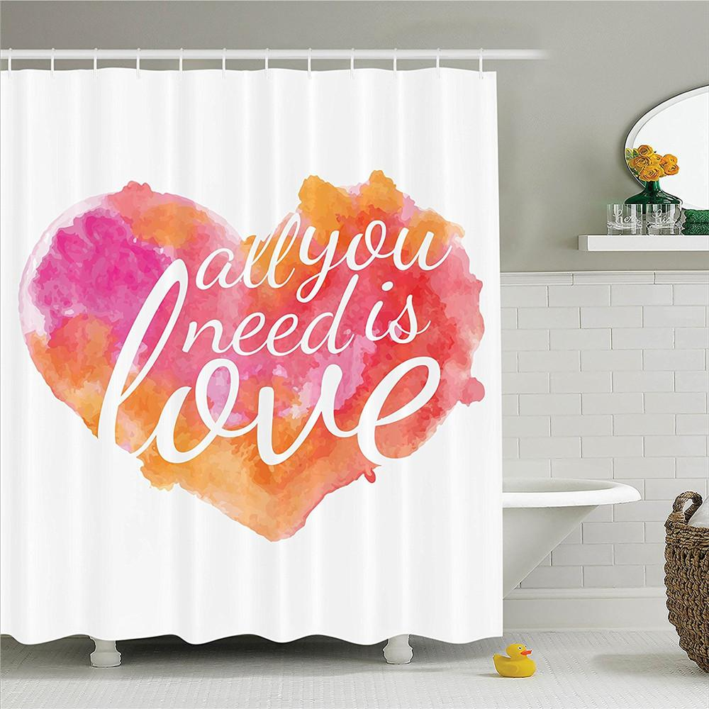 2019 Quotes Decor Shower Curtain Set All You Need Is Love Quote In Colorful Watercolor Splash Background Art Print Bathroom From Sophine09 3552