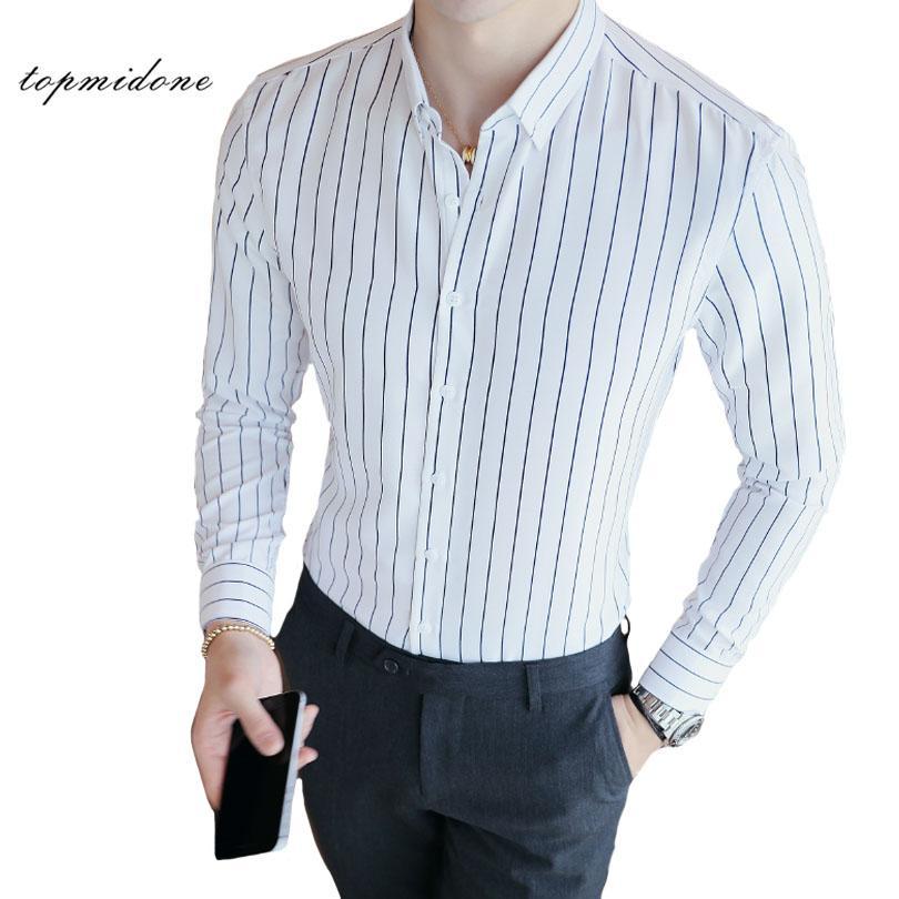 a01476efe9 Compre Homens Multi Listrado Camisa De Vestido De Manga Longa De Algodão  Fino Camisas Formais Masculino Preto   Branco Listrado Escritório Camisa  Plus Size ...
