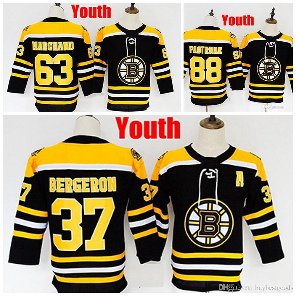 2019 Custom Youth Boston Bruins 37 Patrice 63 Brad Marchand 88 David  Pastrnak Kids Any Name Number Jerseys Stitched From Buybestgoods 9941a843a