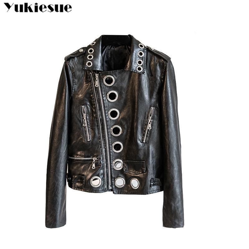 6dcf284ad Compre Punk Jaqueta Básica Jaqueta De Couro PU Jaqueta Feminina Outerwear  Casual Casaco De Couro Falso Slim Design Streetwear Plus Size Jaquetas De  ...