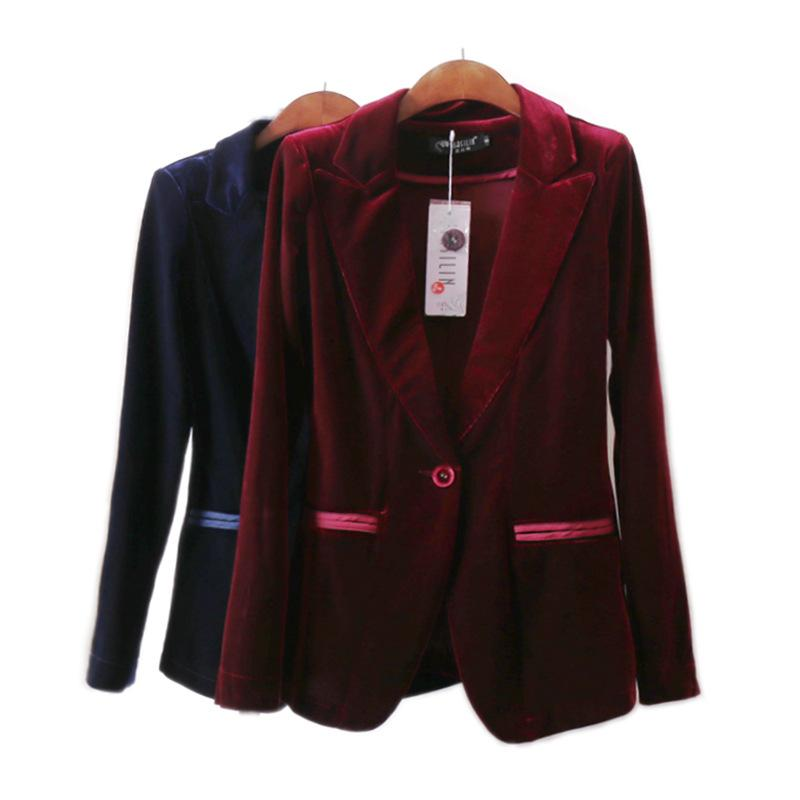 25f95b28ef Donna Blazer di velluto rosso Bleu Marine Blazer da donna Single Button  Femme Giacca per giacca invernale Giacca donna Blazer Abiti Design