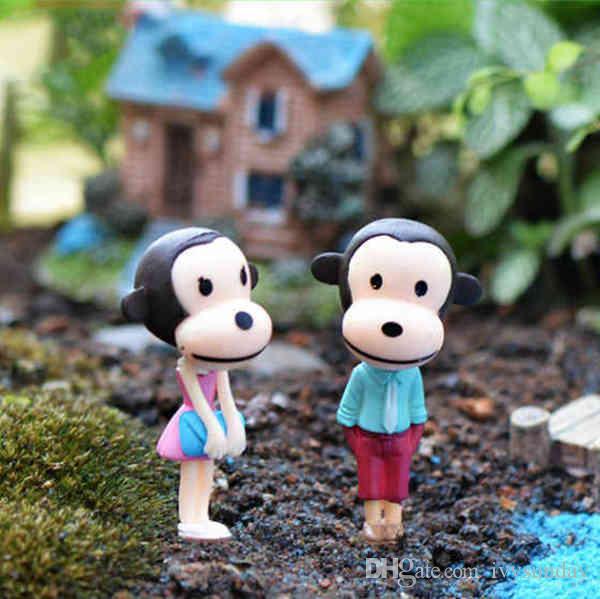 Cartoon Long Legs Monkey Doll Ornament Cake Accessories Small Desktop Moss Terrarium Micro Landscape Miniature Fairy Garden DIY Zakka