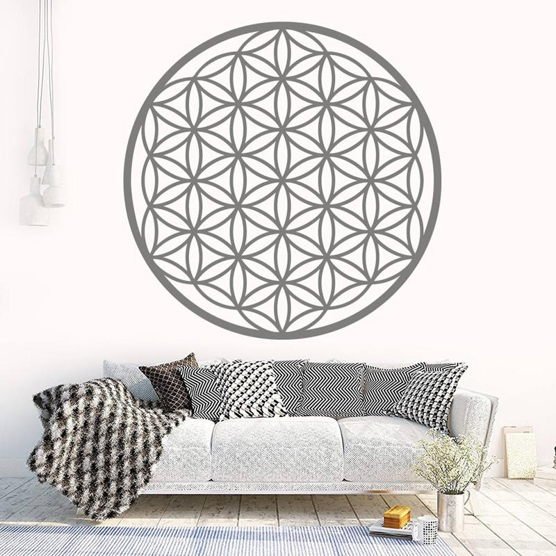 flower of life boho decals, vinyl mandala sticker seed of life wall