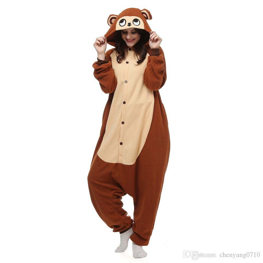 Monkey Women And Men Animal Kigurumi Polar Fleece Costume for ... 7c9269137
