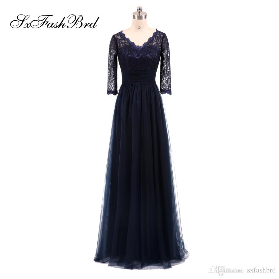 fec8acb215 Girls Dress Elegant V Neck Lace Top 3/4 Long Sleeves A Line Chiffon Long  Party Formal Evening Dresses For Women Prom Dress Gowns Monsoon Evening  Dresses ...