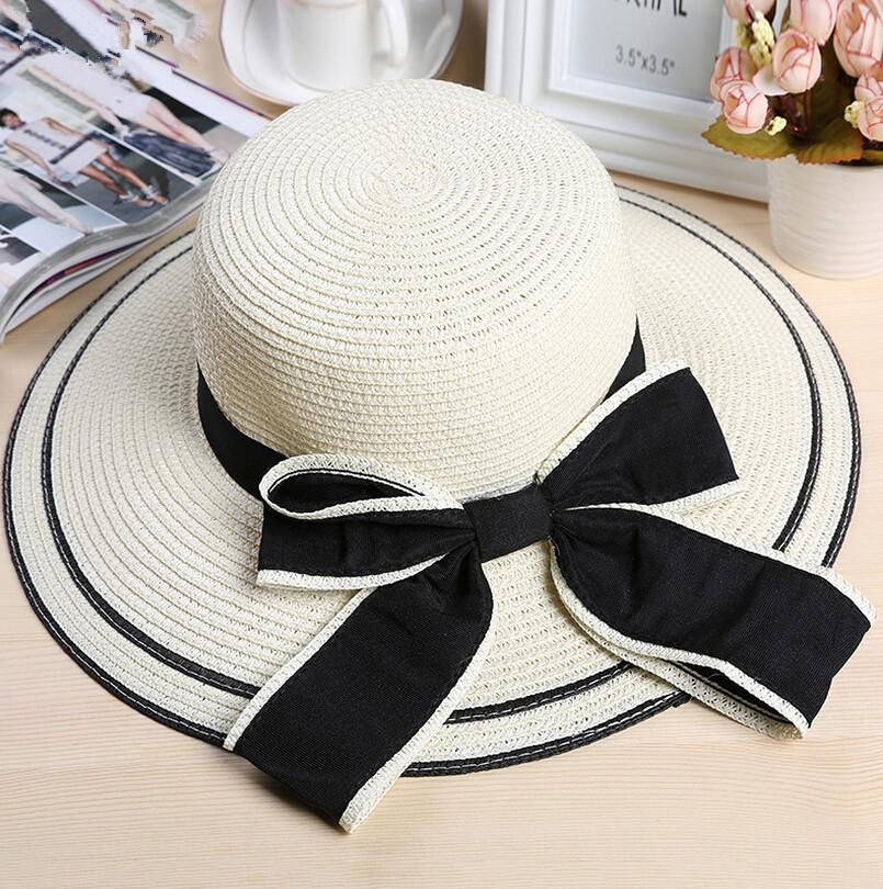 New Trend Solid Color Hat Women Summer Hat Large Full Hollow Hand-woven Summer Bow Beach Gorro Hats Chapeu