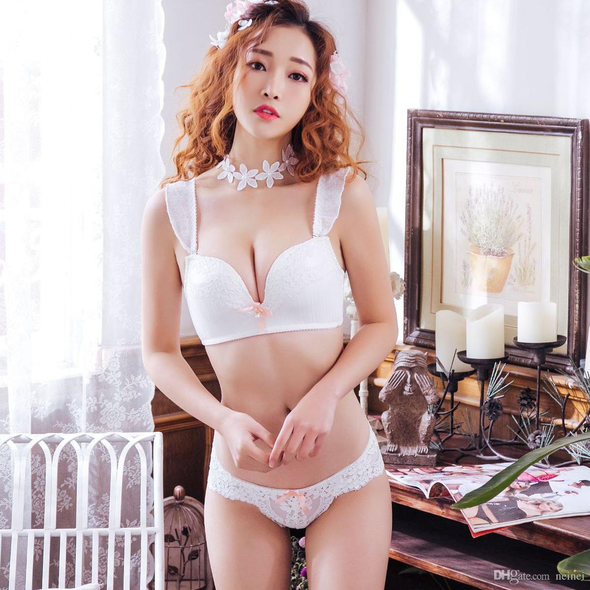 0cef39a842 2019 2018 Fashion Sexy Lace Seamless Bra Set Women Underwear Push Up Sexy Lace  Briefs Lingerie 1 2 Cup 70A B 75A B 80A B 85A B From Neinei