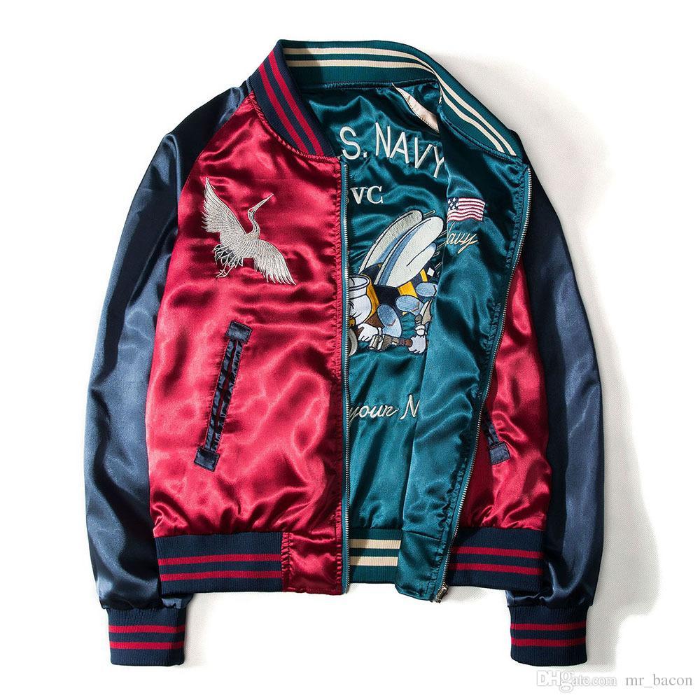 2f8a0a537cc2b Japanese Style Printing Designer Bomber Jackets Mens New Satin Fabrics  Stand Collar Varsity Coat Jacket Both Side Wearable Baseball Jacket Fur  Jackets Parka ...
