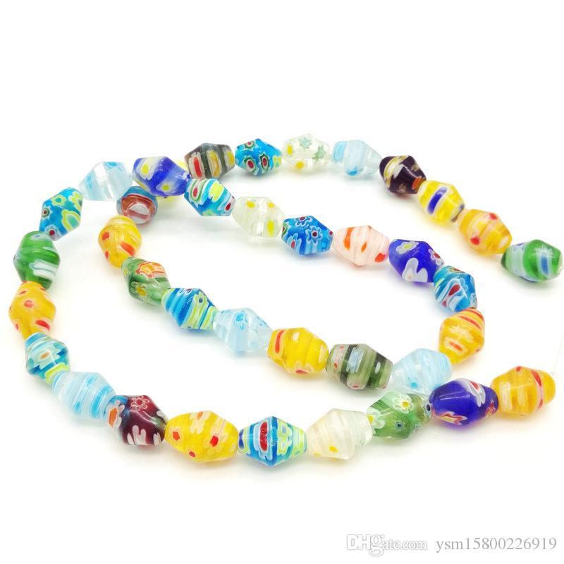00631f13453a Compre 5 Hilos 10   8 MM Prismático Color Mezclado Perlas De Vidrio DIY  Accesorios De Joyería Suelta Perlas Mil Flores Y Perlas De Vidrio Amarillo  A  14.71 ...