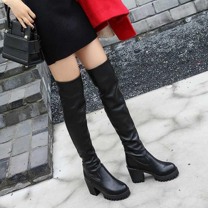 cce899ef226 Thigh High Boots Female Winter Boots Women Over The Knee Flat Stretch Sexy  Fashion Shoes 2018 Black Grey New Riding Cheap Shoes Online Shoes For Sale  From ...