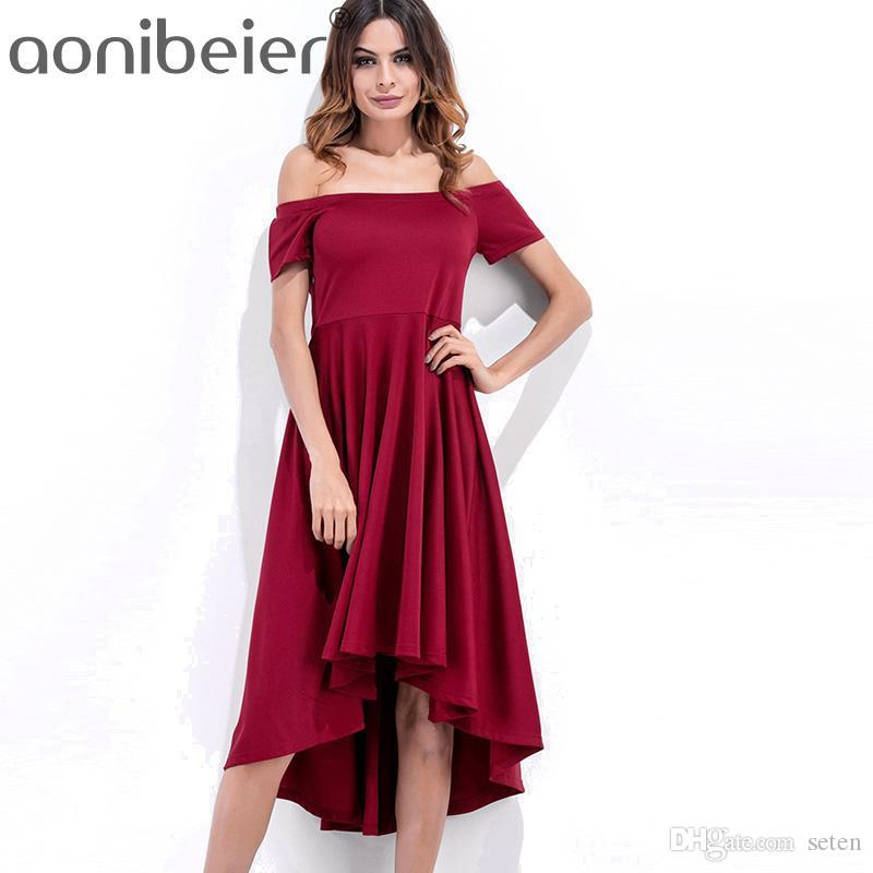 28e0bec89aaa 2019 Aonibeier 2018 Summer Short Sleeve Mid Dress Womens Slash Neck ...