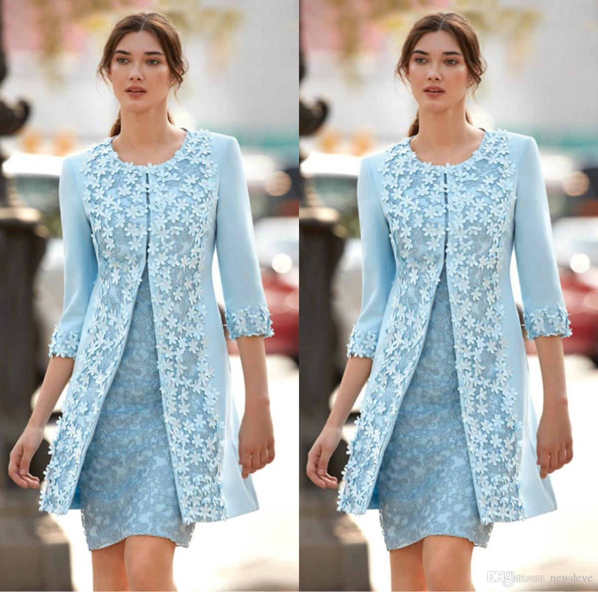 Two Pieces Light Blue Mother Of Bride Dresses 3D Applique Jewel 3/4 Sleeve Knee Length Mother Dress Capped