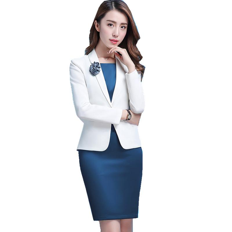 2019 Fmasuth Winter Dress Suit For Ladies Long Sleeve White Blazer