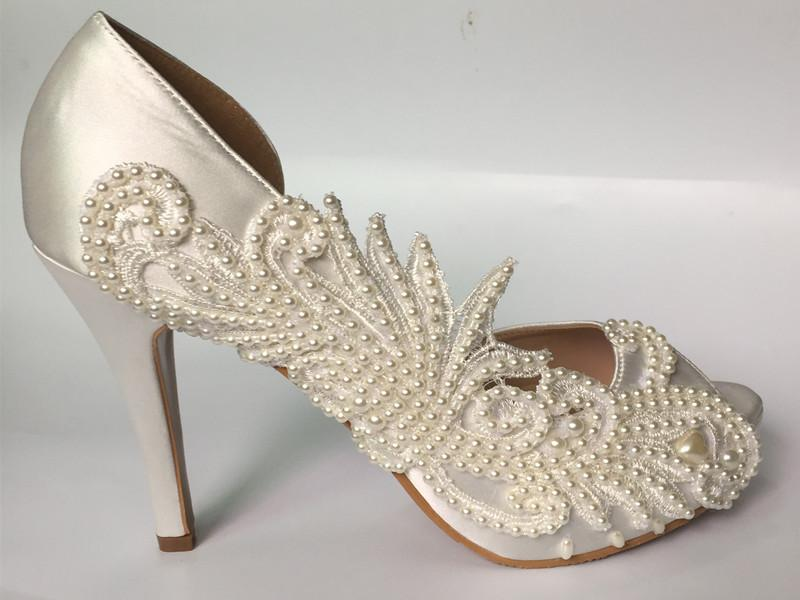 3 4 Heels White Ivory Fine Satin Lace Open Toe Wedding Shoes Bride Size 5  11 Ladies Evening Shoes Navy Evening Shoes From Zh150108 10323edd60