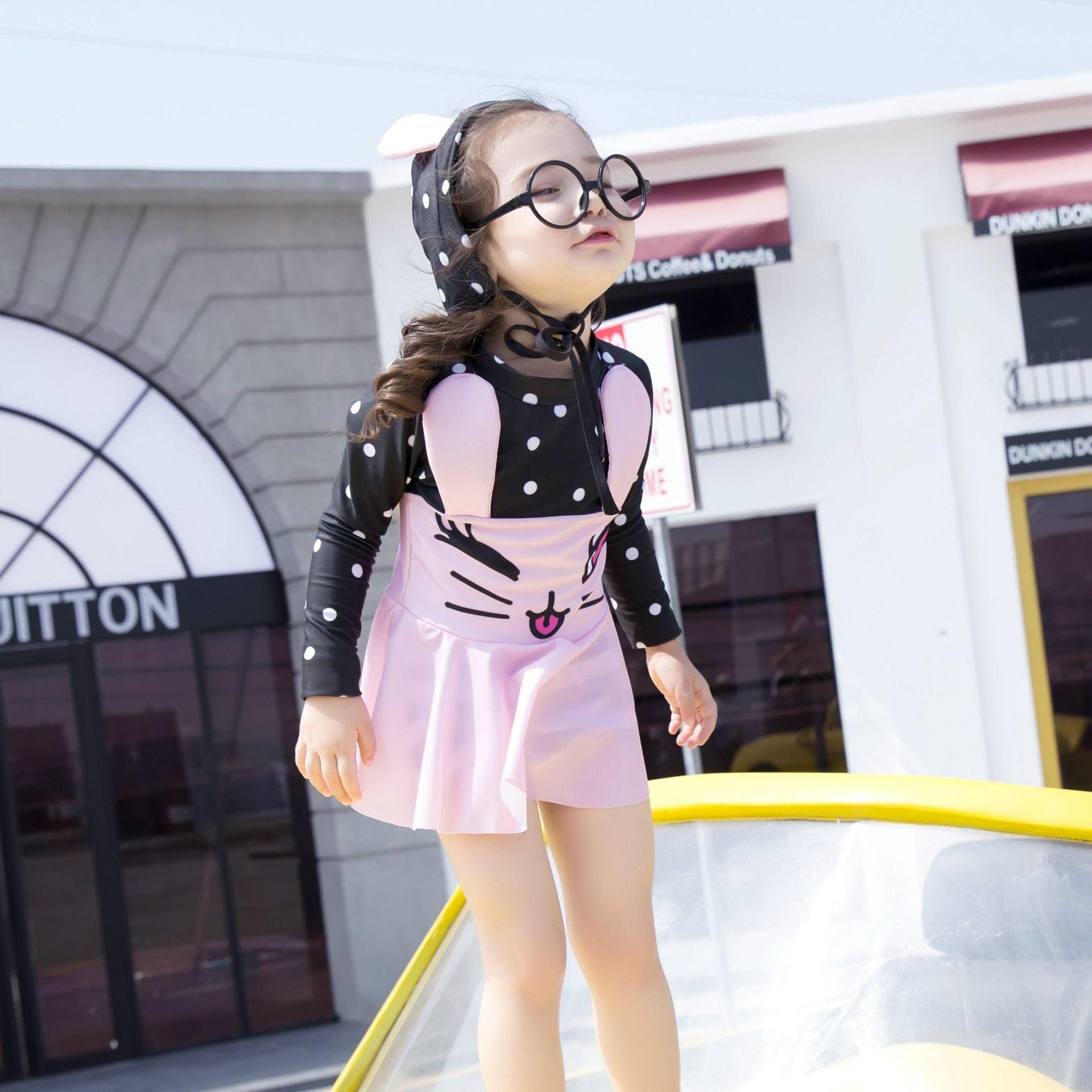 2018 Baby Girl Swimsuits Cute Bunny Ear Swimwear Pink Blue Color