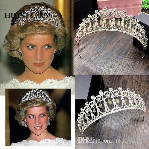 Princess Diana Same ABS Pearl Crown Crystal Tiara Bridal Jewelry Crystal and Pearl para accesorios para el cabello nupcial y corona de boda Tiara