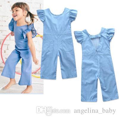 e1f27317f060 2019 New Summer Baby Girls Jumpsuit Children Clothing Denim Color Ruffles  Bow Jumpsuits Straight Pants Kids Fashion Rompers Clothes 2 Styles From ...
