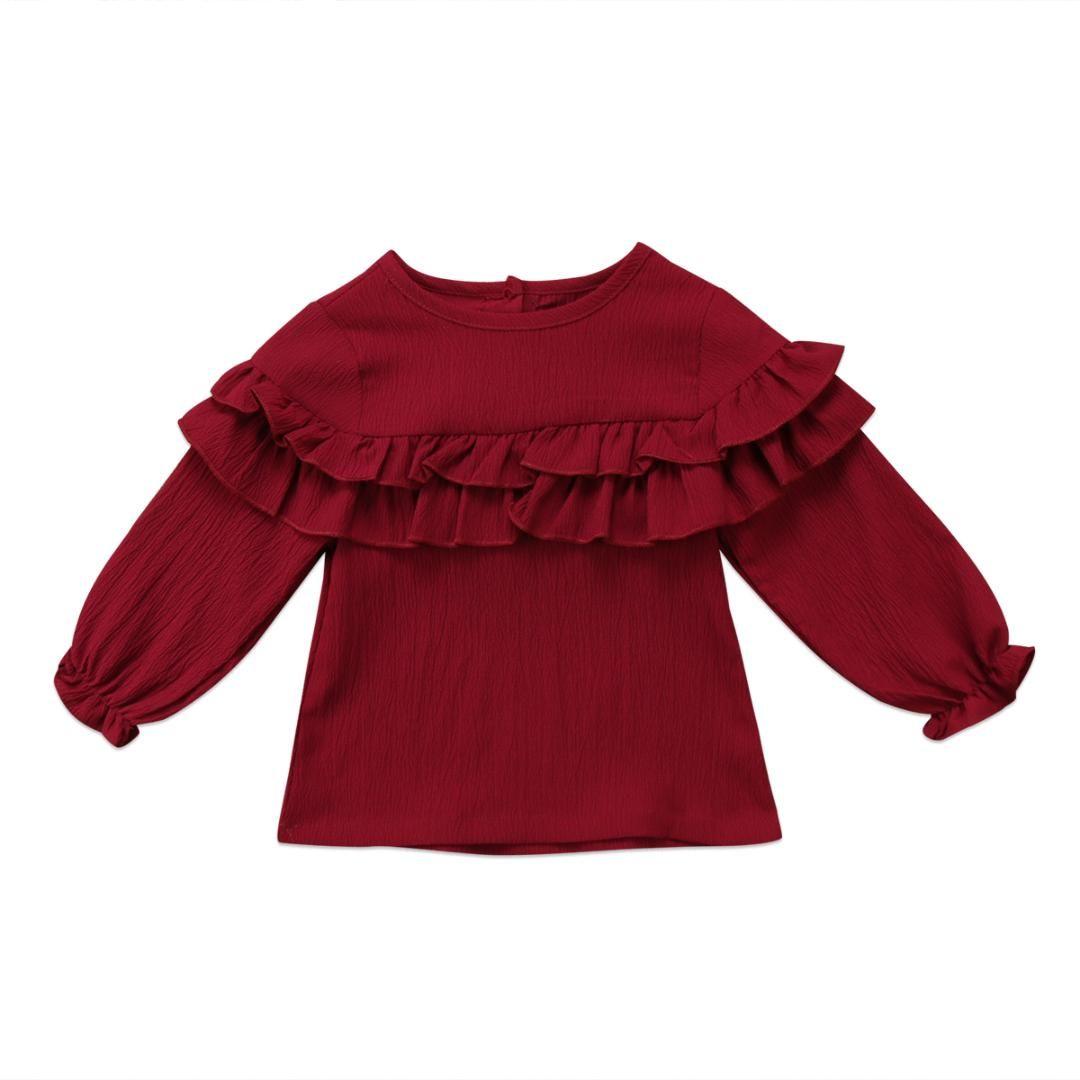 8096cab6d Verano de manga larga con volantes Blusas para bebés Chicas recién nacidas  Camisa roja oscura Tops Blusa Ropa Camisa Color sólido